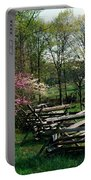 Flowering Trees In Bloom Along Fence Portable Battery Charger