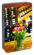 Flowers And Wine Portable Battery Charger