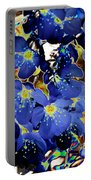 Flowers Blue Portable Battery Charger