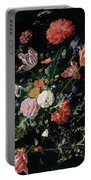 Flowers In A Glass Vase, Circa 1660 Portable Battery Charger