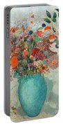 Flowers In A Turquoise Vase Portable Battery Charger