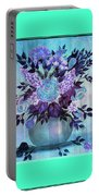 Flowers In A Vase With Blue Border Portable Battery Charger