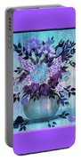 Flowers In A Vase With Lilac Border Portable Battery Charger