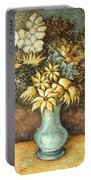 Flowers In Blue Vase - Still Life Oil Portable Battery Charger