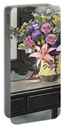 Flowers Table And Mirror In The Foyer Still Life Portable Battery Charger