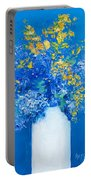 Flowers With Blue Background Portable Battery Charger