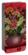Flowers With Red Background Portable Battery Charger