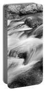 Flowing St Vrain Creek Black And White Portable Battery Charger