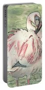 Fluffing Flamingo  Portable Battery Charger