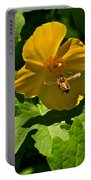 Flying Bee And Wood Poppy Portable Battery Charger