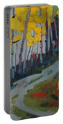 Fog Birches On The Edge Portable Battery Charger