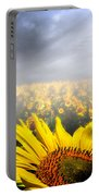 Foggy Field Of Sunflowers Portable Battery Charger