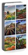 Folk Art Seasonal Seasons Sampler Greetings Rural Country Farm Collection Farms Landscape Scene Portable Battery Charger