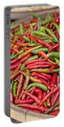 Food Market With Fresh Chili Peppers Portable Battery Charger