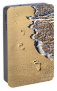 Footprints On Beach Portable Battery Charger