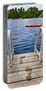 Footprints On Dock At Summer Lake Portable Battery Charger