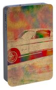 Ford Mustang Watercolor Portrait On Worn Distressed Canvas Portable Battery Charger