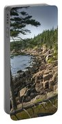 Forest And Rocky Shore In Acadia National Park Portable Battery Charger