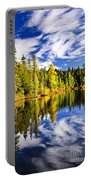 Forest And Sky Reflecting In Lake Portable Battery Charger