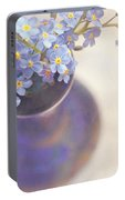 Forget Me Nots In Blue Vase Portable Battery Charger