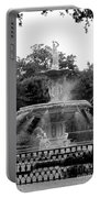 Forsyth Park Fountain - Black And White 2x3 Portable Battery Charger