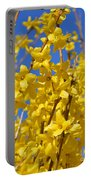 Forsythia On Blue Portable Battery Charger