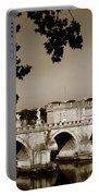 Fortress And Bridge In Sepia Portable Battery Charger