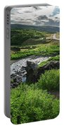 Fossa Waterfall In Hvalfjordur, Iceland Portable Battery Charger