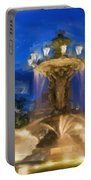 Fountain At Dusk Portable Battery Charger