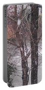Fountain During Snowfall Portable Battery Charger