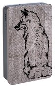 Fox On Burlap  Portable Battery Charger