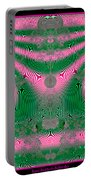Fractal 34 Kimono In Pink And Green Portable Battery Charger
