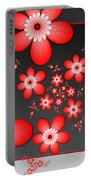 Fractal Cheerful Red Flowers Portable Battery Charger