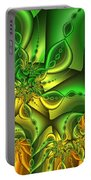 Fractal Gold And Green Together Portable Battery Charger
