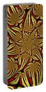 Fractal Golden And Red Portable Battery Charger