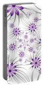Fractal Purple Flowers Portable Battery Charger