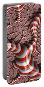 Fractal Red And White Portable Battery Charger