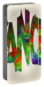 France Typographic Watercolor Map Portable Battery Charger by Inspirowl Design