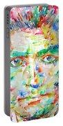 Franz Kafka Watercolor Portrait Portable Battery Charger by Fabrizio Cassetta