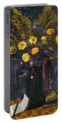 French Marigold Purple Daisies And Golden Sheaves Portable Battery Charger