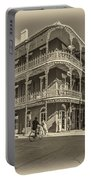 French Quarter Afternoon Sepia Portable Battery Charger