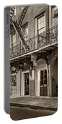French Quarter Art And Artistry Sepia Portable Battery Charger