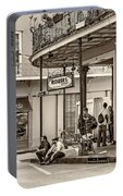 French Quarter - Hangin' Out Sepia Portable Battery Charger