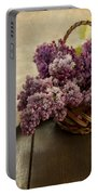 Fresh Lilacs In Brown Basket Portable Battery Charger