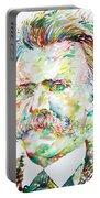 Friedrich Nietzsche Watercolor Portrait Portable Battery Charger