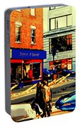 Friperie St.laurent Clothing Variety Dress Shop Downtown Corner Store City Scene Montreal Art Portable Battery Charger