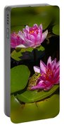 Frog And Water Lily Portable Battery Charger