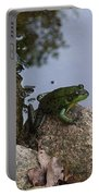 Frog At Edge Of Pond Portable Battery Charger