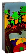 Frog Family Hanging Out On A Limb Portable Battery Charger