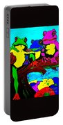 Frog Family Hanging Out On A Limb3 Portable Battery Charger